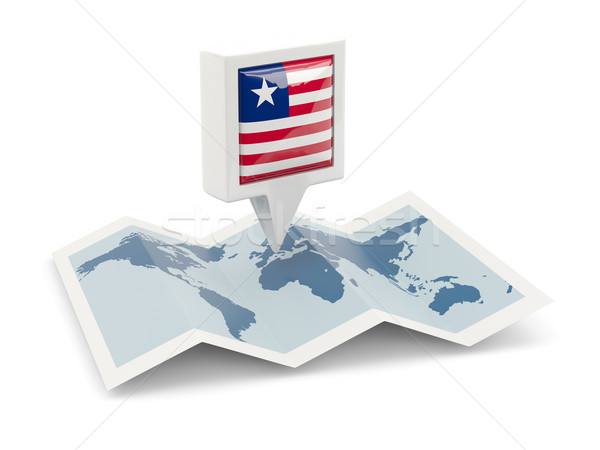 Square pin with flag of liberia on the map Stock photo © MikhailMishchenko