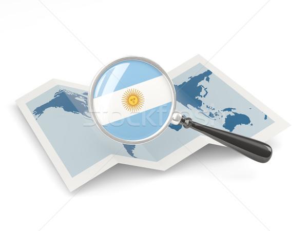 Nagyított zászló Argentína térkép izolált fehér Stock fotó © MikhailMishchenko