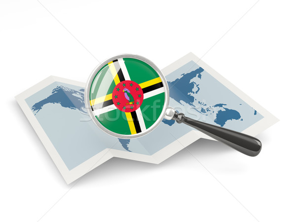 Magnified flag of dominica with map Stock photo © MikhailMishchenko