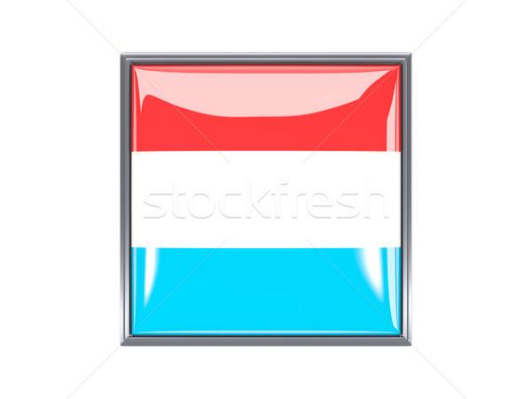 Vierkante icon vlag Luxemburg metaal frame Stockfoto © MikhailMishchenko