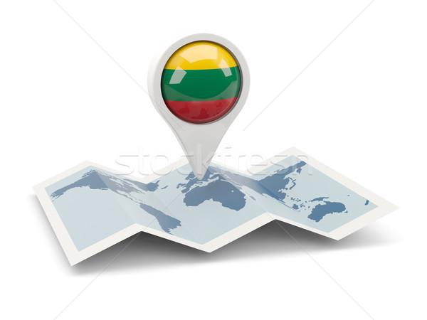 Pin флаг Литва карта путешествия белый Сток-фото © MikhailMishchenko