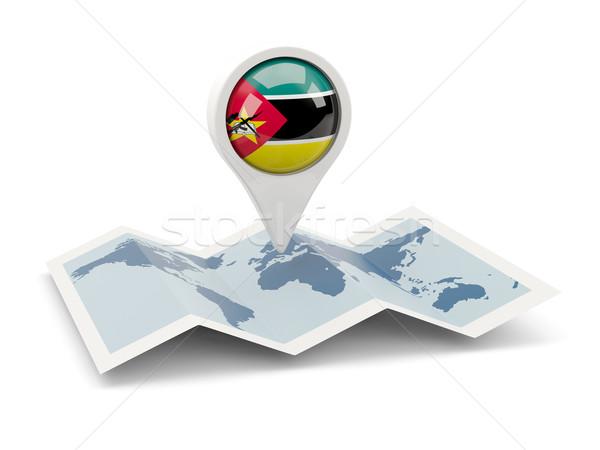 Pin флаг Мозамбик карта путешествия белый Сток-фото © MikhailMishchenko