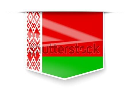 Kare Metal düğme bayrak Belarus yalıtılmış Stok fotoğraf © MikhailMishchenko