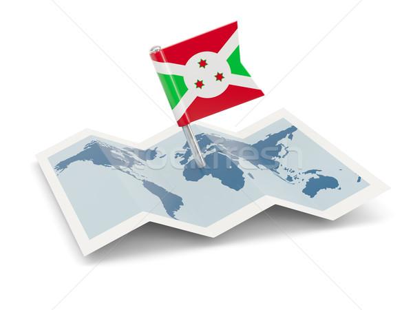 Mapa bandeira Burundi isolado branco Foto stock © MikhailMishchenko