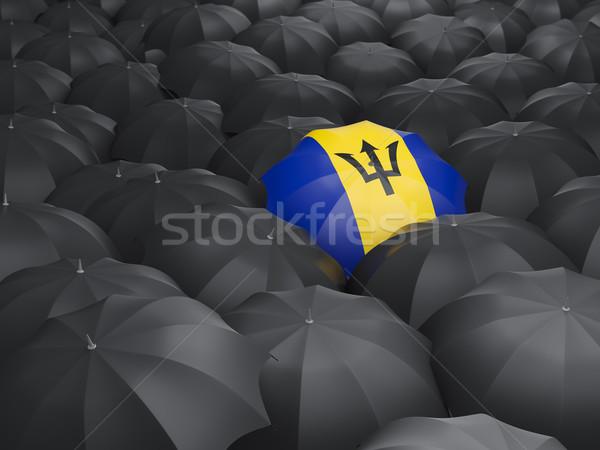Parapluie pavillon Barbade noir parapluies pluie Photo stock © MikhailMishchenko