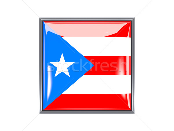 Vierkante icon vlag Puerto Rico metaal frame Stockfoto © MikhailMishchenko