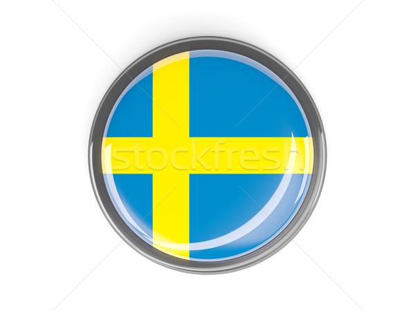Botão bandeira Suécia metal quadro viajar Foto stock © MikhailMishchenko