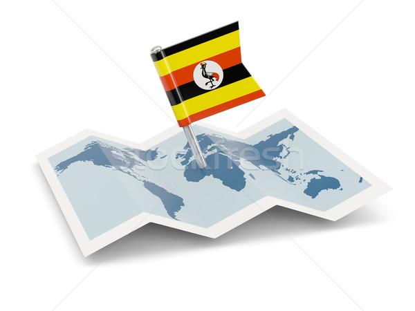 Carte pavillon Ouganda isolé blanche Photo stock © MikhailMishchenko