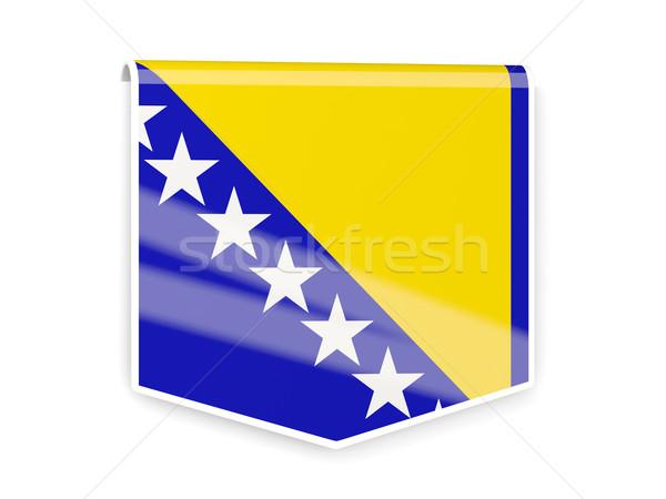 Bandera etiqueta Bosnia Herzegovina aislado blanco signo Foto stock © MikhailMishchenko