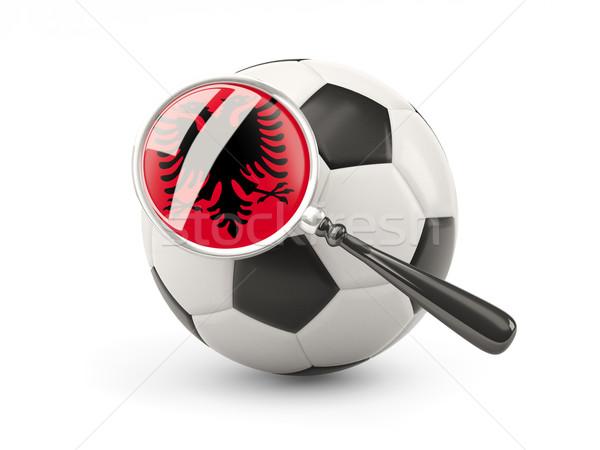 Fútbol ampliada bandera Albania aislado blanco Foto stock © MikhailMishchenko