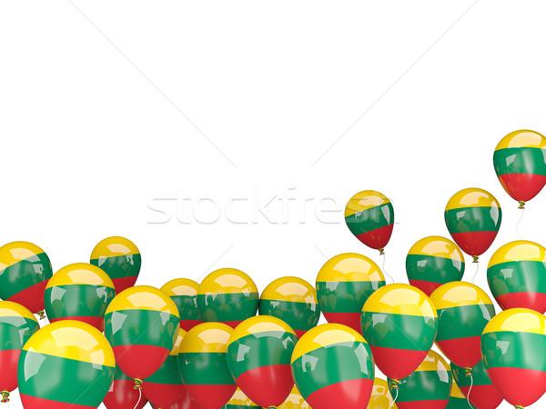 Voador balões bandeira Lituânia isolado branco Foto stock © MikhailMishchenko