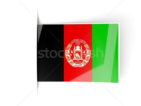 Kare etiket bayrak Afganistan yalıtılmış beyaz Stok fotoğraf © MikhailMishchenko