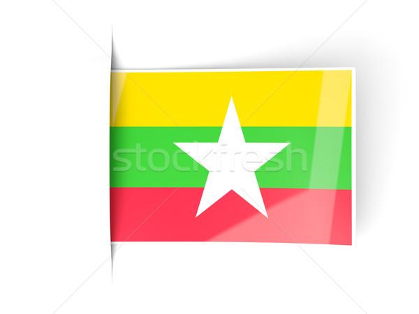 Kare etiket bayrak Myanmar yalıtılmış beyaz Stok fotoğraf © MikhailMishchenko