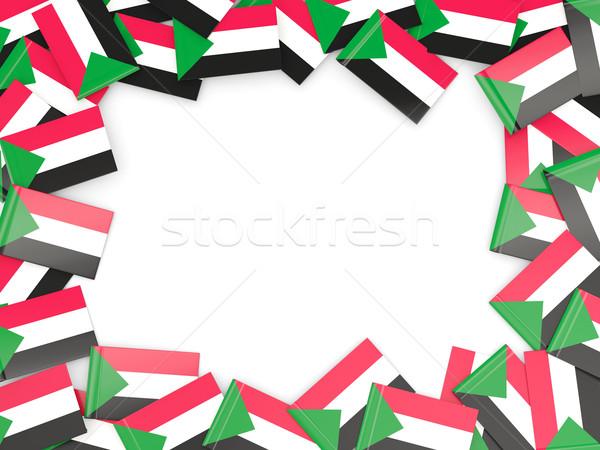 Ramki banderą Sudan odizolowany biały Zdjęcia stock © MikhailMishchenko