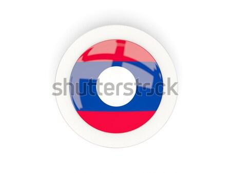 Ikona banderą Laos podpisania biały Zdjęcia stock © MikhailMishchenko