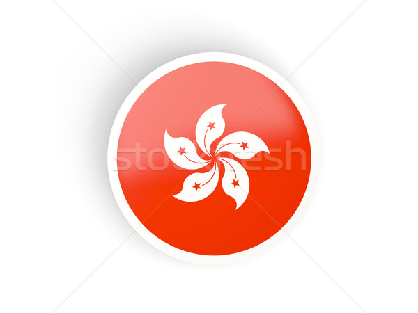 Round sticker with flag of hong kong Stock photo © MikhailMishchenko