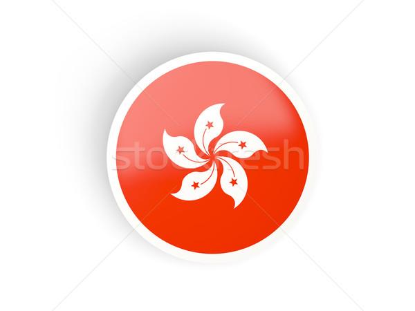 Stockfoto: Sticker · vlag · Hong · Kong · geïsoleerd · witte · reizen