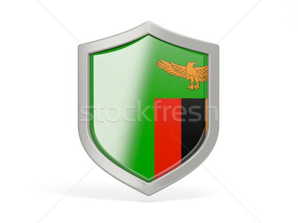 Kalkan ikon bayrak Zambiya yalıtılmış beyaz Stok fotoğraf © MikhailMishchenko