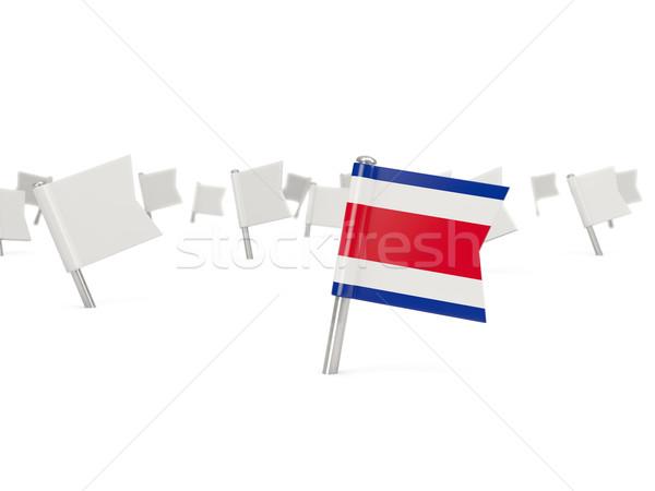 Cuadrados pin bandera Costa Rica aislado blanco Foto stock © MikhailMishchenko