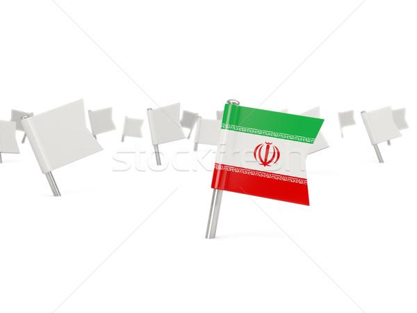 Tér tő zászló Irán izolált fehér Stock fotó © MikhailMishchenko