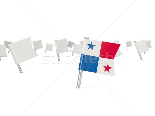 Platz Pin Flagge Panama isoliert weiß Stock foto © MikhailMishchenko