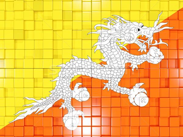 Vierkante onderdelen vlag Bhutan 3d illustration mozaiek Stockfoto © MikhailMishchenko