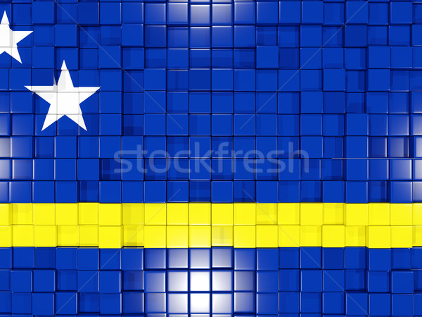 Background with square parts. Flag of curacao. 3D illustration Stock photo © MikhailMishchenko