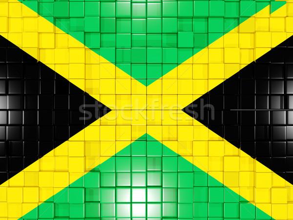 Vierkante onderdelen vlag Jamaica 3d illustration mozaiek Stockfoto © MikhailMishchenko