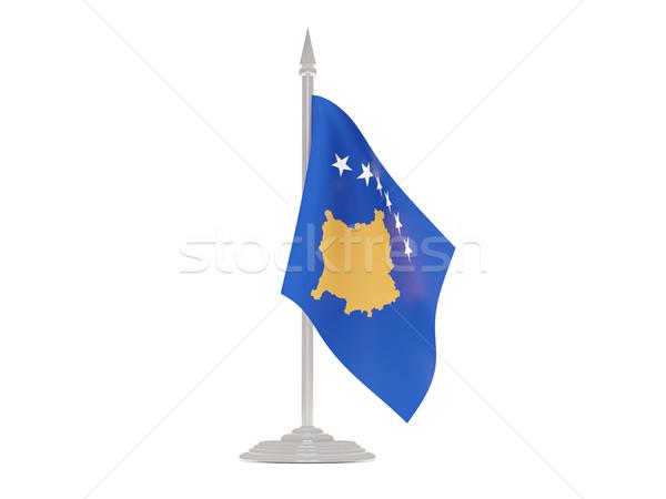 Vlag Kosovo vlaggestok 3d render geïsoleerd witte Stockfoto © MikhailMishchenko