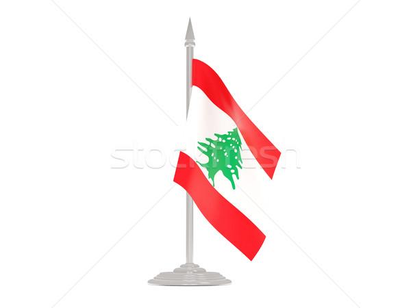Bandera Líbano asta de bandera 3d aislado blanco Foto stock © MikhailMishchenko