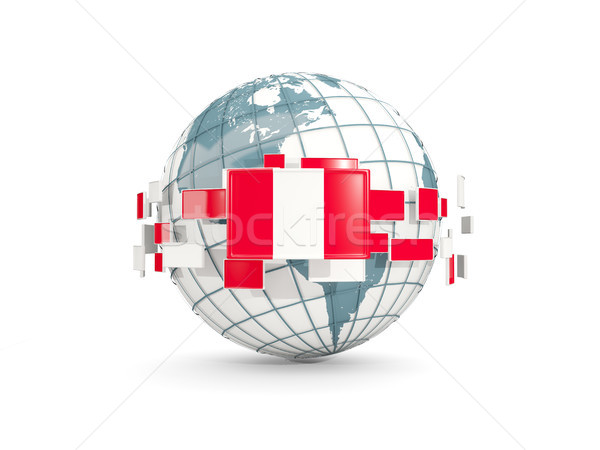 Mundo bandera aislado blanco 3d mapa Foto stock © MikhailMishchenko