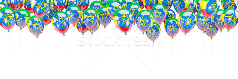 Balony ramki banderą Etiopia odizolowany biały Zdjęcia stock © MikhailMishchenko