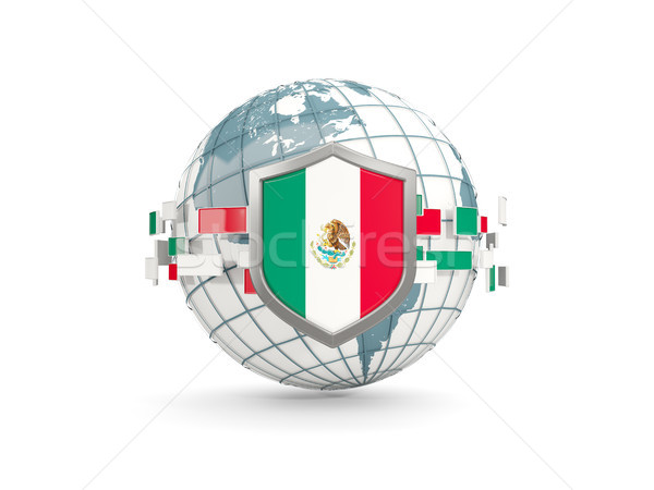 Globe and shield with flag of mexico isolated on white Stock photo © MikhailMishchenko