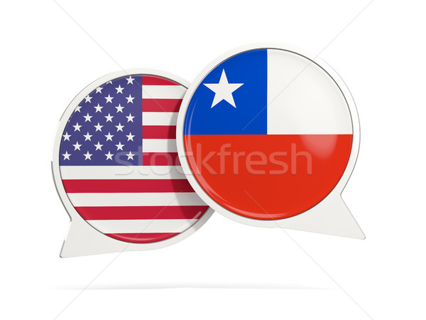 Chat bubbles of USA and Chile isolated on white Stock photo © MikhailMishchenko