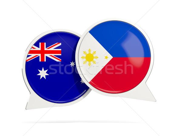 Sohbet kabarcıklar Avustralya Filipinler yalıtılmış beyaz Stok fotoğraf © MikhailMishchenko