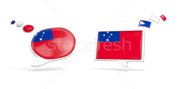 Twee chat iconen vlag Samoa vierkante Stockfoto © MikhailMishchenko