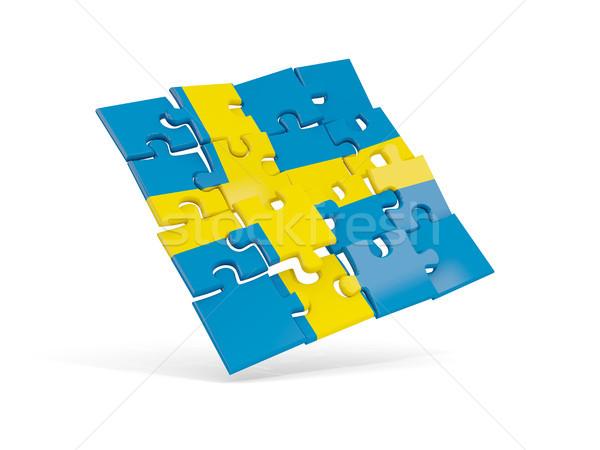 Puzzle banderą Szwecja odizolowany biały 3d ilustracji Zdjęcia stock © MikhailMishchenko