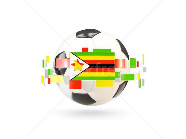 Futbol topu hat bayraklar bayrak Zimbabve Stok fotoğraf © MikhailMishchenko