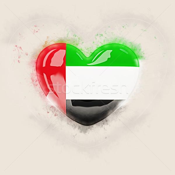 Coração bandeira Emirados Árabes Unidos grunge ilustração 3d viajar Foto stock © MikhailMishchenko
