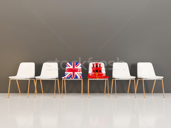 Chairs with flag of United Kingdom and gibraltar Stock photo © MikhailMishchenko
