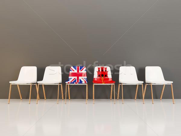 Székek zászló Egyesült Királyság Gibraltár csetepaté 3d illusztráció Stock fotó © MikhailMishchenko