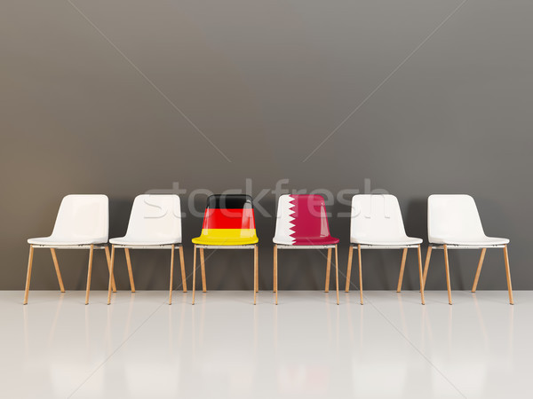 стульев флаг Германия Катар 3d иллюстрации Сток-фото © MikhailMishchenko