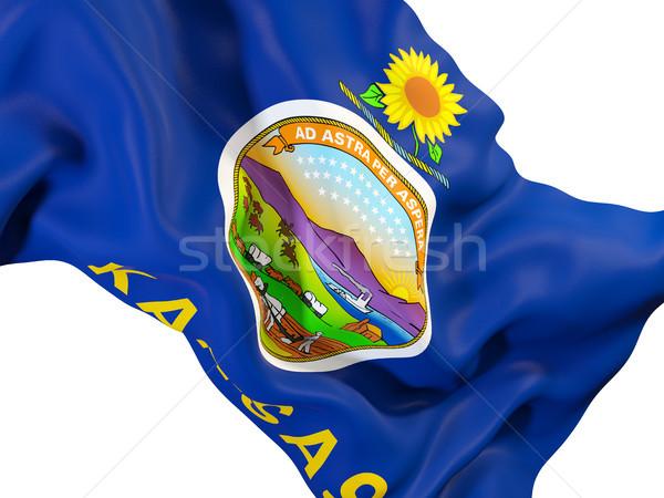 Kansas pavillon États-Unis locale drapeaux Photo stock © MikhailMishchenko