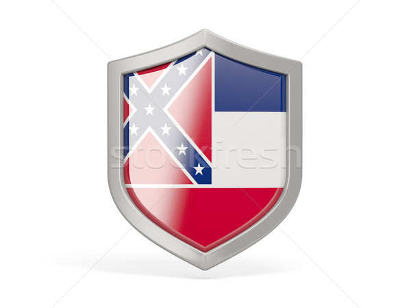 Shield icon with flag of mississippi. United states local flags Stock photo © MikhailMishchenko