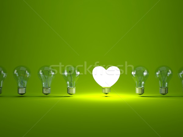 Stockfoto: Hart · gloeilamp · groene · technologie · energie