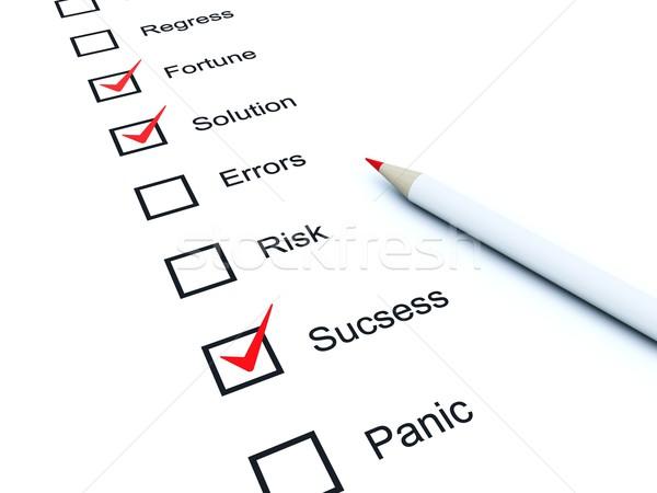 Checklist with red marks Stock photo © MikhailMishchenko