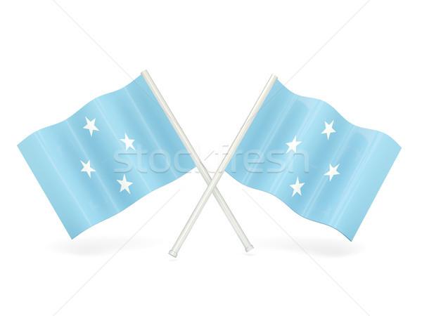 Bandeira Micronésia onda pin bandeira Hong Kong Foto stock © MikhailMishchenko