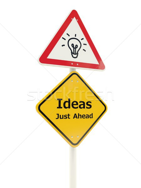 Ideas just ahead road sign Stock photo © MikhailMishchenko