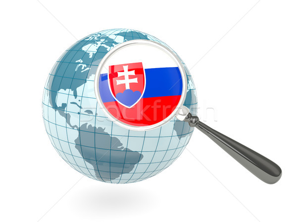 Magnified flag of slovakia with blue globe Stock photo © MikhailMishchenko