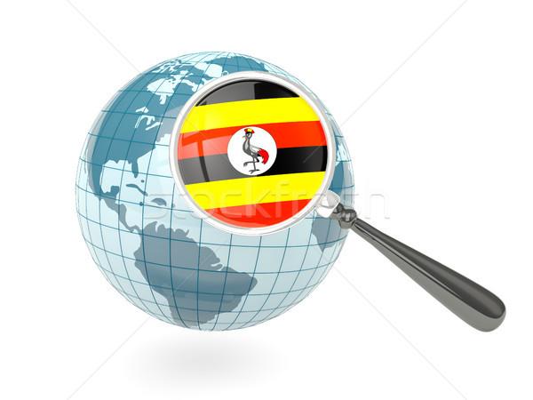 拡大された フラグ ウガンダ 青 世界中 孤立した ストックフォト © MikhailMishchenko